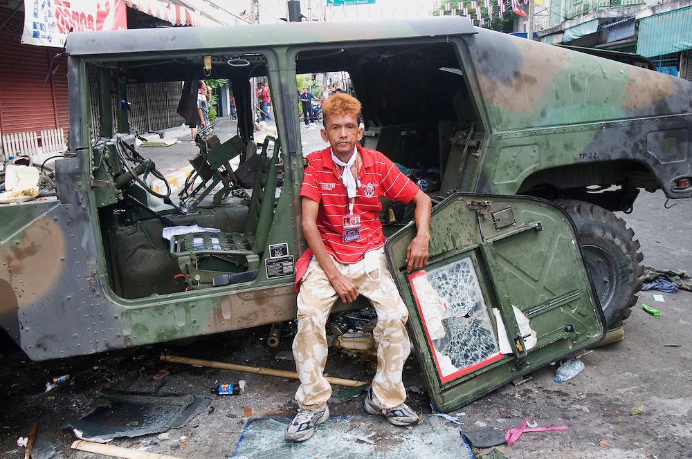 The morning after Red Shirt anti government protestors clash with Army troops in Bangkok, Thailand on Sunday, April 11, 2010
