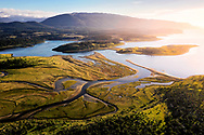 River flows into the Beagle Channel. Tierra del Fuego, Argentina