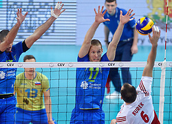 Tine Urnaut #17, Bartosz Kurek #6 during volleyball match between National teams of Poland and Slovenia in Quarterfinals of 2015 CEV Volleyball European Championship - Men, on October 14, 2015 in Arena Armeec, Sofia, Bulgaria. Photo by Ronald Hoogendoorn / Sportida