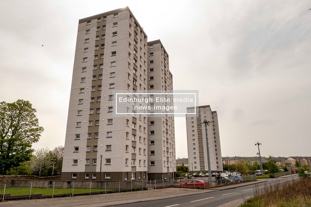 EMBARGOED UNTIL 00:01 24 April 2019<br />Pictured: Wauchope House and Greendykes House in Edinburgh<br /><br />Today, Community Safety minister Ash Denham launched the Scottish Government's consultation on Strengthening Fire Safety for High Rise Domestic Buildings following the Grenfell Tower fire in London.  Ms Denholm was joined by Assistant Chief Fire Officer Ross Haggart and Mark McHale, building manager of Wauchope House, <br /><br /><br />Ger Harley | EEm 23 April 2019