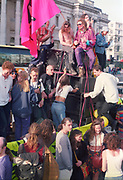 Ravers on top of sound system at the First Criminal Justice March.Trafalgar Square,London,UK, 1st of May 1994.