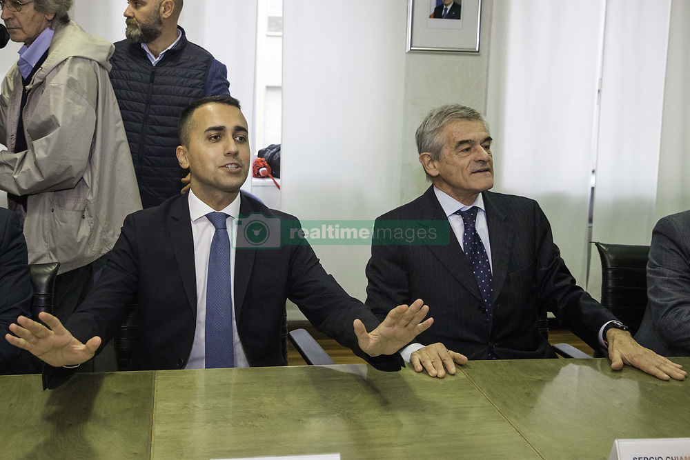 October 31, 2018 - Turin, ITALY, Italy - 31/10/2018 Torino, Italy..Meeting at the Palazzo della Regione  on the situation of the workers of  Comital-Lamalù of Volpiano. The Minister for Labor and Economic Development  Luigi Di Maio toghether with the  President of the Piemonte Region Sergio Chiamparino discuss about the difficult situation of work in Piemonte. It's the first meeting of one  government member after the lost of the olympic's bid and the probable  decision of stop the high speed train project (TAV).   In the picture: Di Maio and Chiamparino during the meeting. (Credit Image: © Mauro Ujetto/NurPhoto via ZUMA Press)
