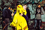 Woman hugs someone dressed as pikachu at the Freedom to Party protest in Shoreditch, January 2016