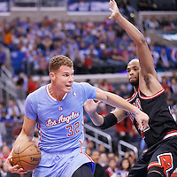 24 November 2013: Los Angeles Clippers power forward Blake Griffin (32) drives past Chicago Bulls power forward Taj Gibson (22) during the Los Angeles Clippers 121-82 victory over the Chicago Bulls at the Staples Center, Los Angeles, California, USA.