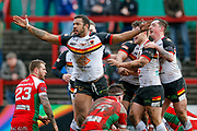 Bradford Bulls interchange Ross Peltier (17) scores a try and celebrates to make the score 0-8 during the Betfred League 1 match between Keighley Cougars and Bradford Bulls at Cougar Park, Keighley, United Kingdom on 11 March 2018. Picture by Simon Davies.