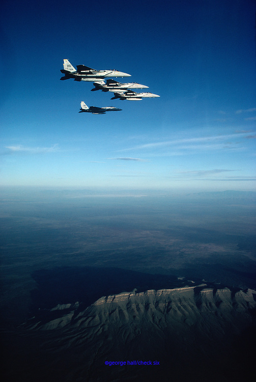 F-15 Eagles flying formation