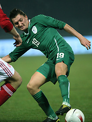 Andraz Kirm (19) of Slovenia and Per Kroldrup (4) of Denmark during the UEFA Friendly match between national teams of Slovenia and Denmark at the Stadium on February 6, 2008 in Nova Gorica, Slovenia. Slovenia lost 2:1. (Photo by Vid Ponikvar / Sportal Images).