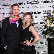 NLD/Amsterdam/20150119 - De Marie Claire Prix de la Mode awards, Jetteke van Lexmond en partner Alex Jaspers