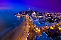 Twilight overview of Playa Olas Altas, Mazatlan, Sinaloa, Mexico