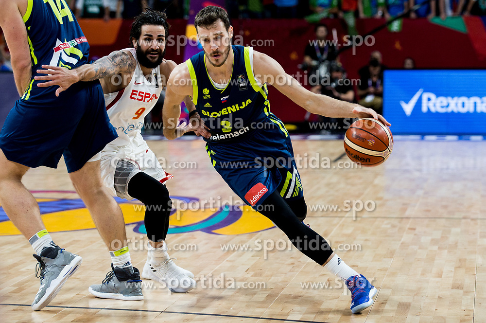 Ricky Rubio of Spain vs Goran Dragic of Slovenia during basketball match between National Teams of Slovenia and Spain at Day 15 in Semifinal of the FIBA EuroBasket 2017 at Sinan Erdem Dome in Istanbul, Turkey on September 14, 2017. Photo by Vid Ponikvar / Sportida