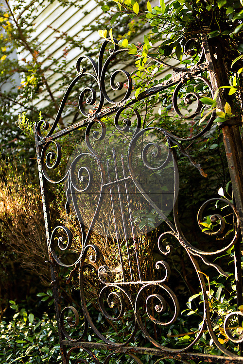 Decorative old iron gate at a historic home on Church Street in Charleston, SC.
