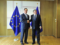 59895729<br /> European Commission President Jose Manuel Barroso (R) welcomes U.S. actor and former Governor of California Arnold Schwarzenegger before their meeting at the European Union headquarters in Brussels, capital of Belgium, Monday June 24, 2013. Picture by imago / i-Images<br /> UK ONLY