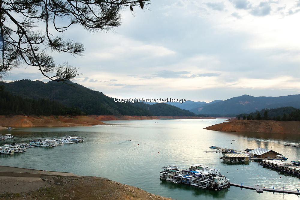The effects of the severe drought at Bridge Bay boat launchs and docks located in Shasta Lake reservoir in Northern California
