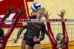 BLOOMINGTON, IL - September 28: Lindsey Paulsen during a college Women's volleyball match between the ISU Redbirds and the Southern Illinois Salukis on September 28 2019 at Illinois State University in Normal, IL. (Photo by Alan Look)
