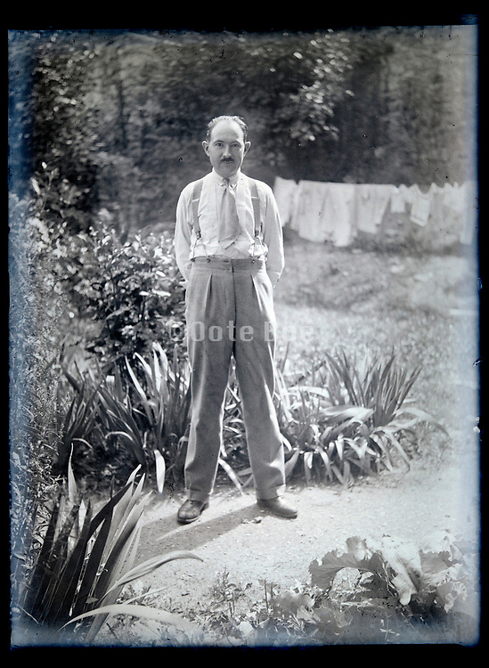 adult man casual standing in garden France circa 1930s