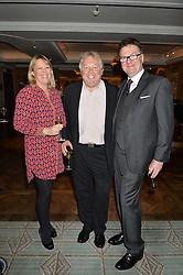 Left to right, CLARE PATTERSON, NICK FERRARI and EWAN VENTERS at a party hosted by Ewan Venters CEO of Fortnum & Mason to celebrate the launch of The Cook Book by Tom Parker Bowles held at Fortnum & Mason, 181 Piccadilly, London on 18th October 2016.