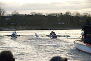 Putney, London.  Pre Varsity Boat race fixture. Crews come close together, as they approach the bend towards Chiswick Bridge, Cambridge UBC. [Blue Boat] vs GBR U23 crew raced over parts of the Championship Course, [Putney to Mortlake].  Race divided into two trials. 1. Start to Hammersmith Pier. 2. Chiswick Eyot to Finish. River Thames. Saturday   26/02/2011 [Mandatory Credit -Karon Phillips/Intersport Images]..Crews:.CAMBRIDGE [Blue Boat] Bow,  Mike THORP, Joel JENNINGS,  Dan RIX-STANDING,  Hardy CUBASCH,  George NASH,  Geoff ROTH , Derek RASMUSSEN, Stroke David NELSON and Cox Tom FIELDMAN..GB Under-23s Bow, Oliver STAITE, Jack CADMAN,  Alex TORBICA, Alex DAVIDSON, Matt TARRANT, Ertan HAZINE,  Mason DURANT,  Stroke Scott DURANT and Cox Max GANDER ..