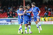 Gillingham celebrate Bradley Dack's equaliser during the Sky Bet League 1 match between Swindon Town and Gillingham at the County Ground, Swindon, England on 26 December 2015. Photo by Shane Healey.