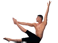 caucasian man gymnastic aerobic posture isolated studio on white background