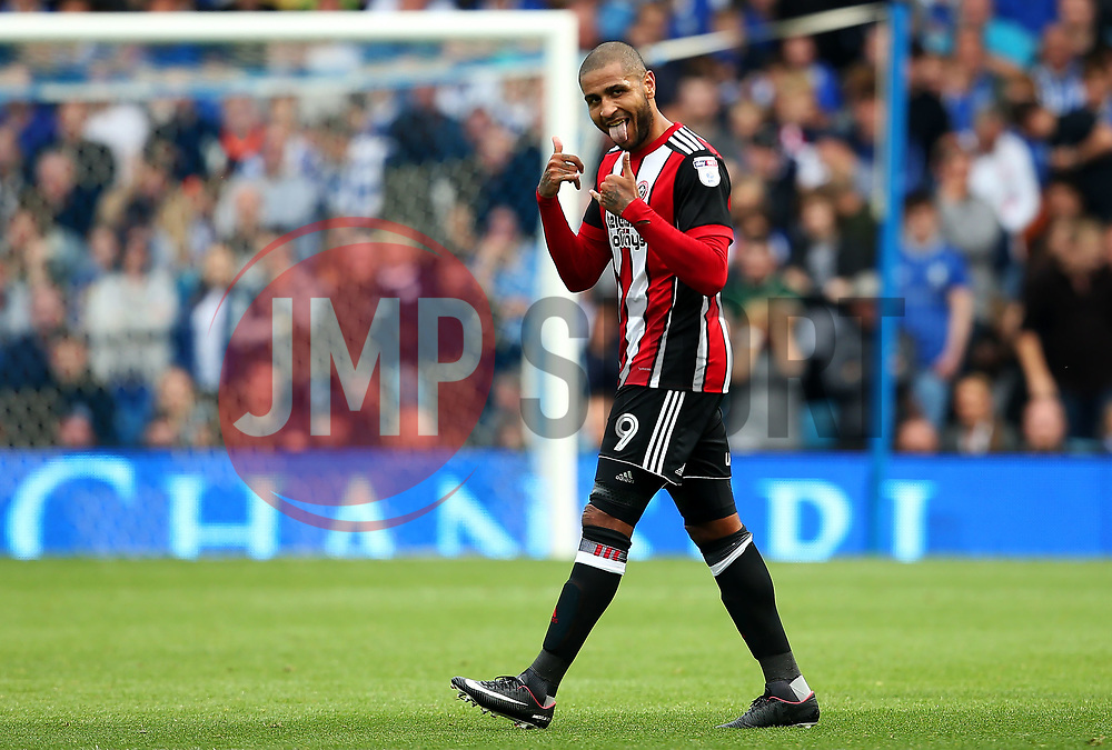 Leon Clarke of Sheffield United celebrates after scoring his sides second goal  - Mandatory by-line:  Matt McNulty/JMP - 24/09/2017 - FOOTBALL - Hillsborough - Sheffield, England - Sheffield Wednesday v Sheffield United - Sky Bet Championship