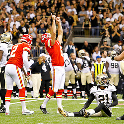September 23, 2012; New Orleans, LA, USA; Kansas City Chiefs place kicker Ryan Succop (6) celebrates after kicking a field goal during the fourth quarter to send the game to overtime against the New Orleans Saints at the Mercedes-Benz Superdome. The Chiefs defeated the Saints 27-24 in overtime. Mandatory Credit: Derick E. Hingle-US PRESSWIRE