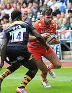 Niall Morris of Leicester Tigers scores a try during the Aviva Premiership match at the Ricoh Arena, Coventry<br /> Picture by Michael Whitefoot/Focus Images Ltd 07969 898192<br /> 09/05/2015