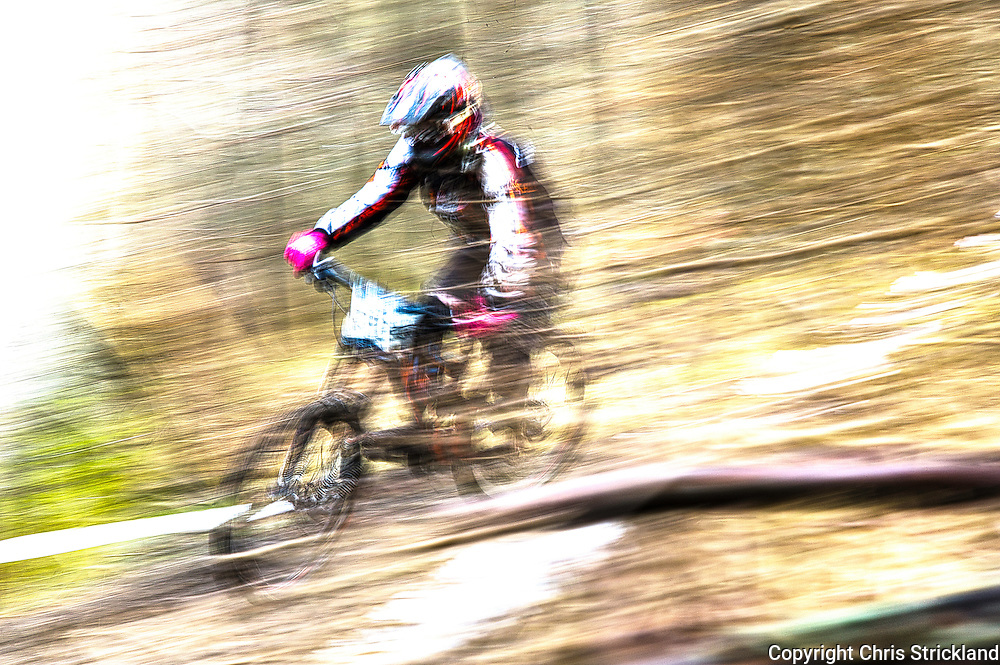 Downhill Mountain Bikers take on timed trails organised by the Scottish Downhill Association on the 7Stanes Innerleithen course in the Tweed Valley.