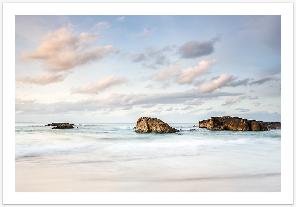A calming seascape at South West Rocks. These rocks, just off the 'front beach', give this laid-back town its name [South West Rocks, NSW, Australia]<br /> <br /> Image ID: 301957. Order by email to orders@girtbyseaphotography.com quoting the image ID, preferred print size & media. Current standard size prices are published on the Pricing page. Custom sizes also available. <br /> <br /> Greeting Card:<br /> <br /> A version of this image is also featured in the South West Rocks greeting cards collection, currently on discount. Click link to view: <br /> <br /> https://girtbyseaphotography.photoshelter.com/gallery/South-West-Rocks-Collection-Greeting-Cards/G0000.snDnJvK7To/C0000Sl07_LeEKdo