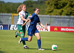 HAVERFORDWEST, WALES - Sunday, August 25, 2013: Wales' Amy Wathan in action against France's Aurelie Gagnet during the Group A match of the UEFA Women's Under-19 Championship Wales 2013 tournament at the Bridge Meadow Stadium. (Pic by David Rawcliffe/Propaganda)