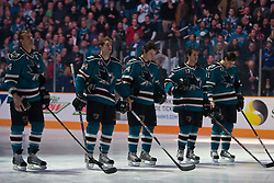 January 6, 2010; San Jose, CA, USA; San Jose Sharks defenseman Rob Blake (4) and defenseman Marc-Edouard Vlasic (44) and left wing Jamie McGinn (64) and center Torrey Mitchell (17) and right wing Jed Ortmeyer (41) before the game against the St. Louis Blues at HP Pavilion. San Jose defeated St. Louis 2-1 in overtime. Mandatory Credit: Jason O. Watson / US PRESSWIRE