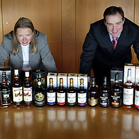 William Ovens and Corrine Williamson with the Edrington Groups range of duty free whisky<br /><br />Picture by Graeme Hart.<br />Copyright Perthshire Picture Agency<br />Tel: 01738 623350  Mobile: 07990 594431