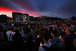Candles glow in the sunset during a candlelight vigil at Memory Mall on the UCF campus in Orlando, FL, USA, in commemoration of the one-year anniversary of the mass shooting at Marjory Stoneman Douglas High School, on Thursday, February 14, 2019. Photo by Stephen M. Dowell/Orlando Sentinel/TNS/ABACAPRESS.COM