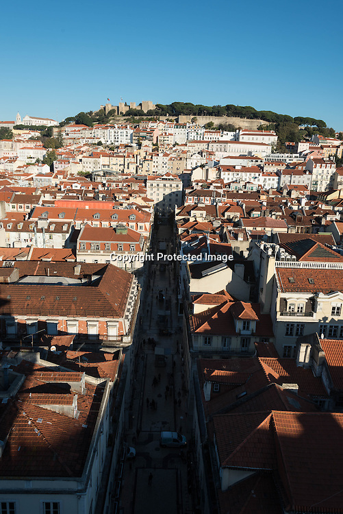 Portugal. Lisbon. elevated view on Baixa district   / le quartier de Baixa vu d'en haut