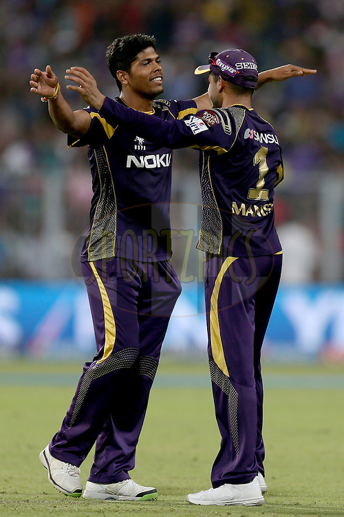 Umesh Yadav celebrates the wicket of George Bailey during the first qualifier match (QF1) of the Pepsi Indian Premier League Season VII 2014 between the Kings XI Punjab and the Kolkata Knight Riders held at Eden Gardens Cricket Stadium, Kolkata, India on the 28th May 2014. Photo by Jacques Rossouw / IPL / SPORTZPICS<br /> <br /> <br /> <br /> Image use subject to terms and conditions which can be found here:  http://sportzpics.photoshelter.com/gallery/Pepsi-IPL-Image-terms-and-conditions/G00004VW1IVJ.gB0/C0000TScjhBM6ikg
