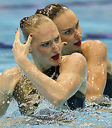 RUSSIA RUS.ISCHENKO Natalia.ROMASHINA Svetalana.London 2012 Olympic Synchronised Swimming Qualification Tournament.Day01 - Duet Technical.Photo G.Scala/Deepbluemedia/Wateringphoto.