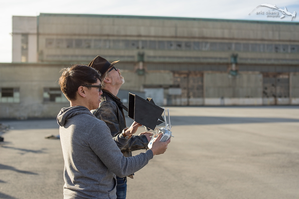 Adam Savage and Norm Chan operate a DJI Inspire 1 in dual-operator mode