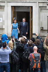 Westminster, London, June 23rd 2016. British Prime Minister David Cameron and his wife Samantha leave at Westminster Central Hall after voting in the UK's EU referendum.