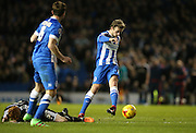 Brighton striker (on loan from Manchester United), James Wilson (21) shoots during the Sky Bet Championship match between Brighton and Hove Albion and Brentford at the American Express Community Stadium, Brighton and Hove, England on 5 February 2016.