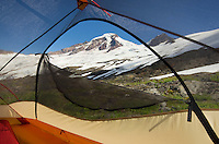 Tent on slopes of Heliotrope Ridge, Mount Baker Wilderness North cascades Washington