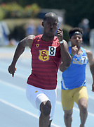 T.J. Brock of Southern California places second in the 200m in 21.47 during a collegiate dual meet against UCLA at Drake Stadium in Los Angeles, Sunday, April 29, 2018.