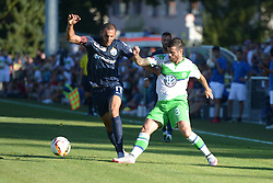 21.07.2015, Singen, SUI, Testspiel, VfL Wolfsburg vs FC Zuerich, im Bild Yassine Chikhaoui (Zuerich) gegen Vieirinha (Wolfsburg) // during the International Friendly Football Match between VfL Wolfsburg and FC Zuerich at Singen, Switzerland on 2015/07/21. EXPA Pictures &copy; 2015, PhotoCredit: EXPA/ Freshfocus/ Claudia Minder<br /> <br /> *****ATTENTION - for AUT, SLO, CRO, SRB, BIH, MAZ only*****