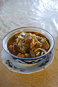 Uzbekistan, Samarqand.<br /> Labi G'or (Lyabi Gor) restaurant. Laghman (noodles).