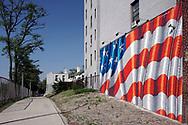 American Flag on wall.