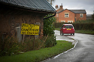 Anti-fracking signs in the village of Woodsfold, close to the proposed site at Roseacre Wood, Lancashire where fracking firm Cuadrilla has been given permission to undertake construction and testing for shale gas extraction. On 6th October, 2016 UK Government's Communities secretary, Sajid Javid, accepted an appeal from Cuadrilla against an earlier decision to turn down their plans to frack on sites on the Fylde coast.