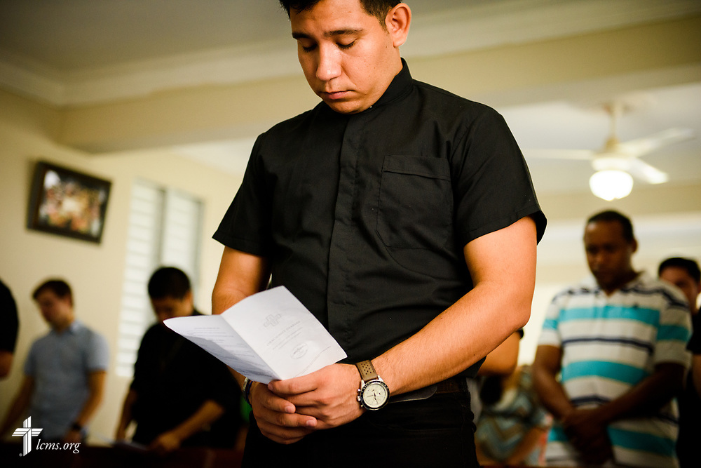 Seminarian Neftali Garcia prays during chapel at the Concordia Reformer Lutheran Seminary and Mercy Center in Palmar Arriba, Dominican Republic, on Wednesday, Oct. 18, 2017. LCMS Communications/Erik M. Lunsford