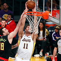 07 January 2018: Los Angeles Lakers center Brook Lopez (11) goes for the dunk over Atlanta Hawks center Miles Plumlee (18) during the LA Lakers 132-113 victory over the Atlanta Hawks, at the Staples Center, Los Angeles, California, USA.