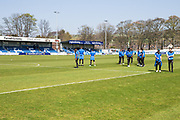 FGR players inspect the pitch prior to the Vanarama National League match between Guiseley  and Forest Green Rovers at Nethermoor Park, Guiseley, United Kingdom on 8 April 2017. Photo by Shane Healey.
