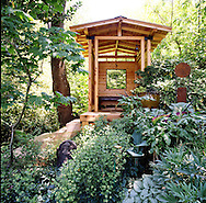 The Heavenly Poodle Pavilion in the shade garden