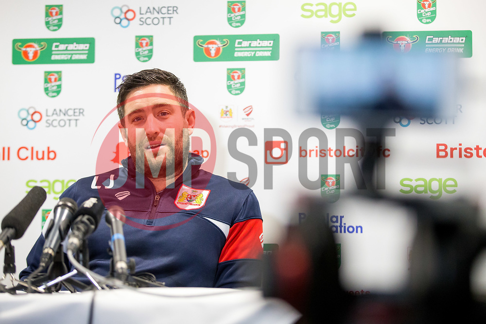 Manager Lee Johnson speaks in the pre match press conference ahead of Bristol City's Carabao Cup Quarter Final against Manchester United - Rogan/JMP - 18/12/2017 - Ashton Gate Stadium - Bristol, England - Bristol City v Manchester United - Carabao Cup Quarter Final.