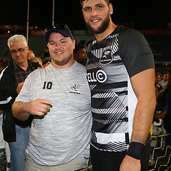 DURBAN, SOUTH AFRICA - MAY 05: Ruan Botha of the Cell C Sharks with the fans after the match during the Super Rugby match between Cell C Sharks and Highlanders at Jonsson Kings Park Stadium on May 05, 2018 in Durban, South Africa. (Photo by Steve Haag/Gallo Images)